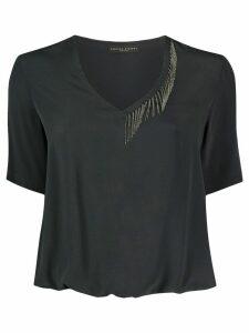 Fabiana Filippi short-sleeve draped T-shirt - Black