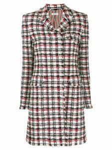 Thom Browne plain ribbon tweed overcoat - White