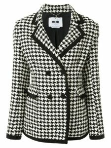 MSGM double-breasted houndstooth blazer - White