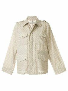 Tu es mon TRÉSOR embroidered single-breasted jacket - Brown