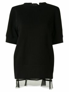 Sacai organdy-panelled sweatshirt - Black