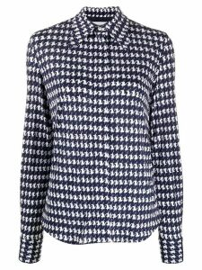 Victoria Beckham houndstooth pointed collar shirt - Blue