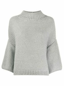 Fabiana Filippi draped three-quarter sleeve jumper - SILVER