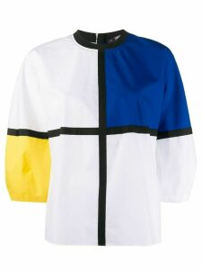 Karl Lagerfeld poplin colour block top - White