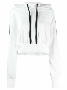 No Ka' Oi cropped stripe detail hoodie - White