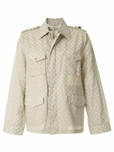 Tu es mon TRÉSOR lace eyelet M-65 field jacket - Brown