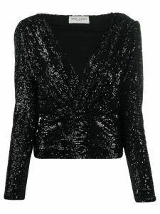 Saint Laurent crossover front sequinned blouse - Black