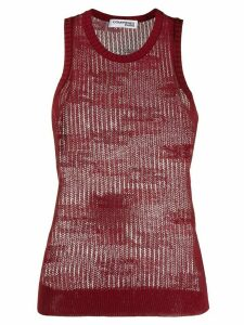 Courrèges sheer knitted vest top - Red