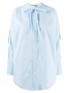 Courrèges tie neck cold shoulder blouse - Blue