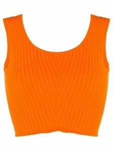 Versace knitted sleeveless crop top - ORANGE