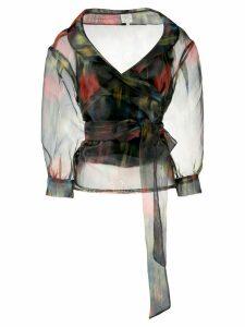 Baum Und Pferdgarten tie waist floral print blouse - Black