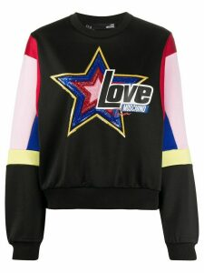 Love Moschino sequinned-star relaxed-fit sweatshirt - Black