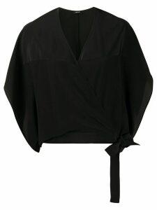 Aspesi silk wrap-front blouse - Black