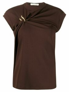 Bottega Veneta gathered high-neck top - Brown