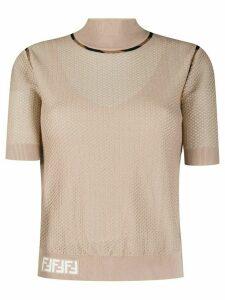 Fendi mesh knitted top - NEUTRALS