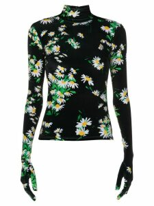 Richard Quinn floral print glove style blouse - Black