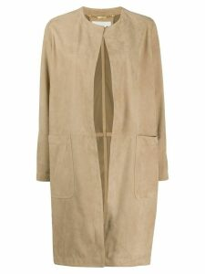 Manzoni 24 open suede coat - NEUTRALS