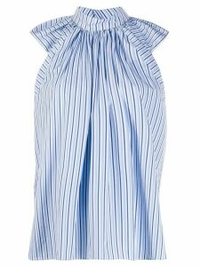 Victoria Victoria Beckham ruched shoulder striped blouse - Blue