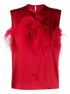 Marques'Almeida feather trimmed sleeveless blouse - Red