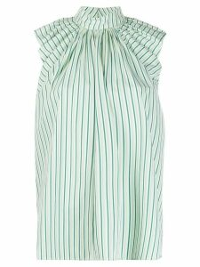 Victoria Victoria Beckham ruched shoulder striped blouse - Green