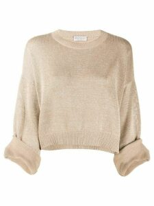 Brunello Cucinelli lurex crew neck jumper - Brown
