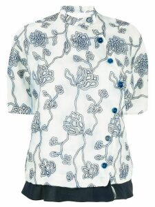 Chloé organza flower embroidered blouse - Grey