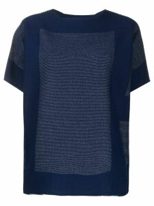 Issey Miyake stitch detailed boxy T-shirt - Blue