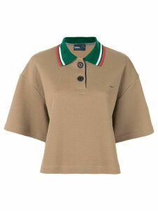 Kolor contrast collar polo shirt - Brown