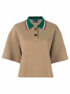 Kolor contrast collar polo shirt - Brown