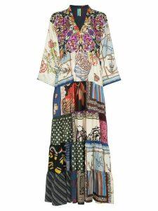 Rianna + Nina multi floral polka dot print silk V-neck kaftan dress -