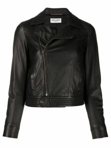 Saint Laurent off-centre zipped biker jacket - Black