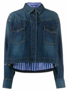 Sacai cropped denim shirt jacket - Blue