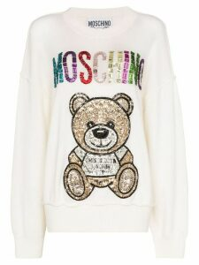 Moschino jewelled Teddy logo sweatshirt - White