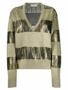 Saint Laurent horizontal striped knitted jumper - GOLD