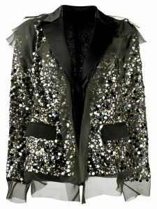 Sacai sequinned organdy deconstructed jacket - Black