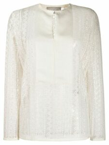 LANVIN lace panelled blouse - White