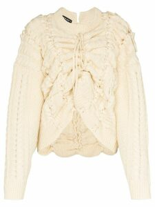 Y/Project lace-up cable-knit wool jumper - NEUTRALS
