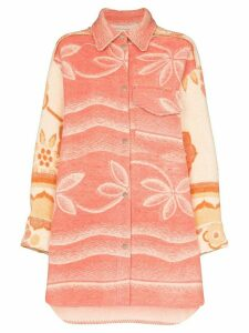 Rave Review Rakel oversized blanket shirt jacket - PINK