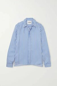 Jil Sander - Striped Silk-satin Shirt - Blue