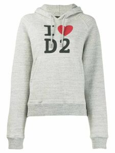 Dsquared2 logo slogan knitted hoodie - Grey