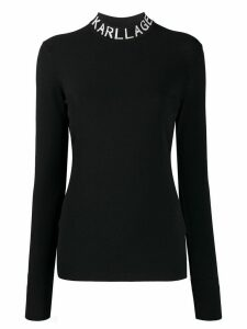 Karl Lagerfeld logo collar slim-fit sweatshirt - Black