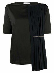 Fabiana Filippi Jed pleat overlay T-shirt - Black