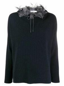 Fabiana Filippi Mad chiffon collar jumper - Blue