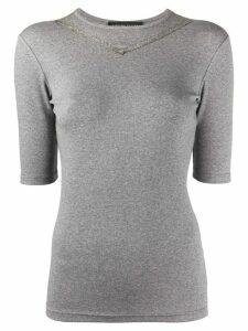 Fabiana Filippi metallic trim T-shirt - Grey