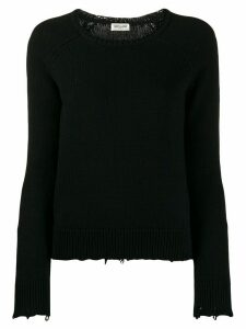Saint Laurent distressed crew neck sweater - Black