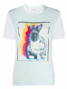 PS Paul Smith Rabbit Shadow print colour block T-shirt - White