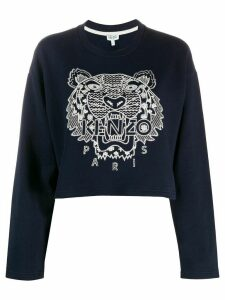 Kenzo tiger-embroidered cropped sweatshirt - Blue
