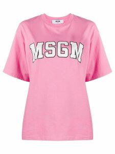 MSGM logo-print boxy T-shirt - PINK