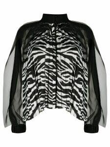 Sacai zebra print pleated blouse - White