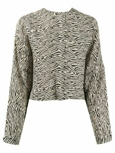 Nanushka Louise zebra-print pleated top - NEUTRALS